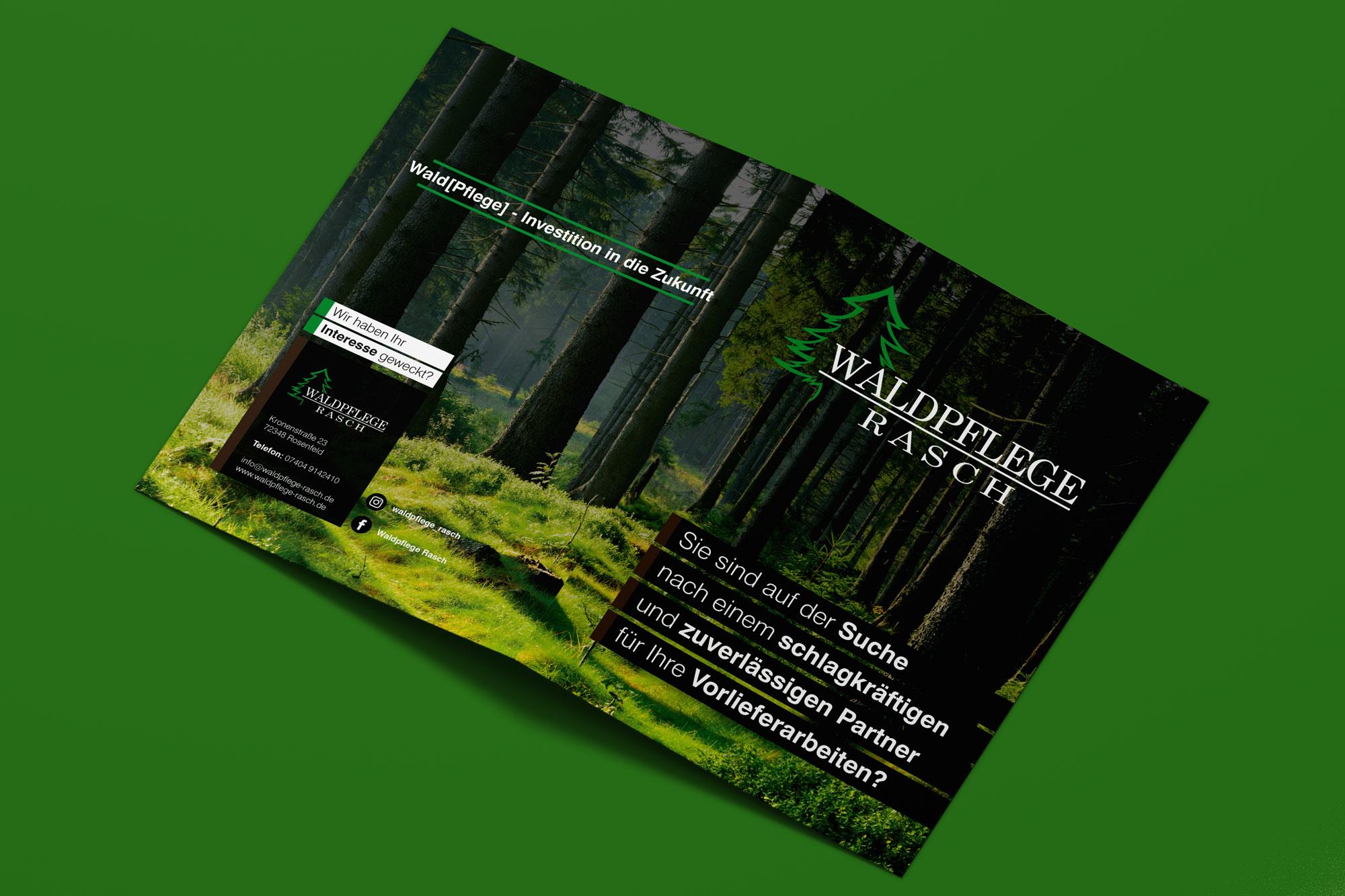 Flyer A4 gefalzt Waldpflege Rasch